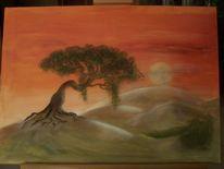 Baum, Mond, Abendrot, Himmel