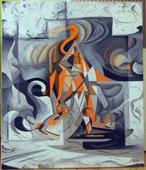 Ölmalerei, Schwarz weiß, Abstrakt, Orange