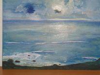 Das meer, Gegenlicht, Marinemalerei, Mischtechnik