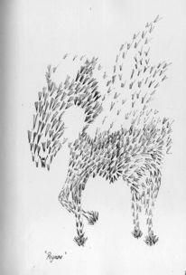 Schwarz weiss zeichnung, Humor, Fantasie, Weiß