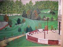 Malerei, Hotel, Golfplatz