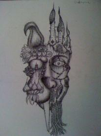 Surreal, Zeichnung, Kugelschreiber, Kopf