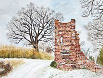 Winterlandschaft, Landschaft, Ruine, Winter