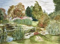 Baum, Wiese, Dorfteich, Aquarellmalerei