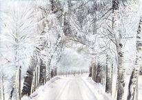 Schnee, Landschaft, Aquarellmalerei, Winter