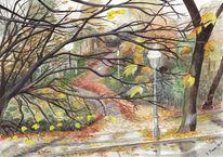 Regen, Herbst, Landschaft, Aquarellmalerei
