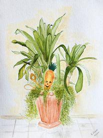 Bromelien, Küche, Aquarellmalerei, Blumen