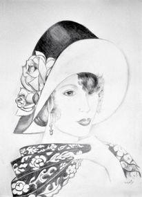 Bleistiftzeichnung, Zeichnung, Frau, Portrait