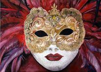 Aquarellmalerei, Gold, Fasching, Maske