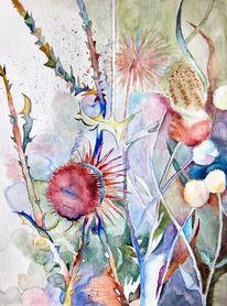 Abend, Distel, Aquarellmalerei, Aquarell