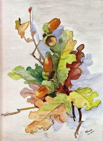 Eicheln, Aquarellmalerei, Laub, Eichen