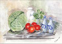Küche, Stillleben, Kohl, Aquarellmalerei