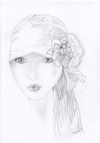 Portrait, Bleistiftzeichnung, Zeichnung, Frau