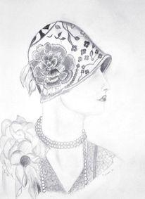 Frau, Bleistiftzeichnung, Zeichnung, Profil