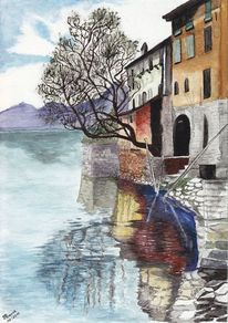 Aquarellmalerei, Haus, See, Landschaft