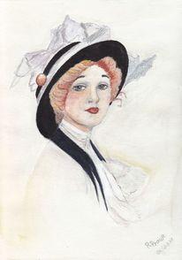 Aquarellmalerei, Rothaarig, Mädchen, Frau