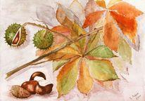 Herbst, Laub, Aquarellmalerei, Zweig