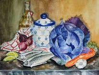 Rotkohl, Stillleben, Fisch, Ölmalerei
