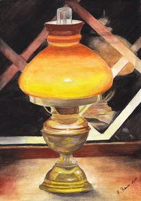 Aquarellmalerei, Licht, Fenster, Gelb