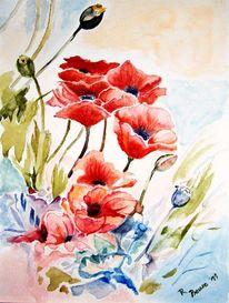 Aquarellmalerei, Mohn, Blumen, Rot