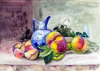 Pfirsich, Obst, Aquarellmalerei, Stillleben
