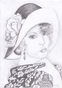 Bleistiftzeichnung, Dame, Zeichnung, Hut