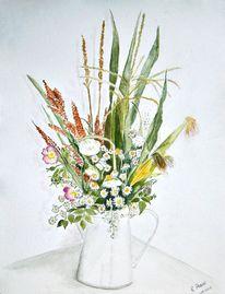 Weiß, Sommer, Blumen, Aquarellmalerei
