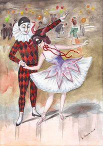 Balett, Aquarellmalerei, Tanz, Fasching