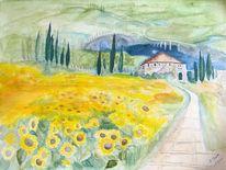 Aquarellmalerei, Sonnenblumen, Toskana, Landschaft