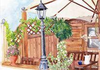 Aquarellmalerei, Garten, Sommer, Laterne