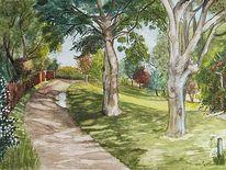 Aquarellmalerei, Garten, Wiese, Gartentor