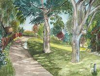 Aquarellmalerei, Weg, Wiese, Garten