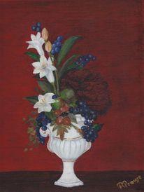 Blaubeeren, Vase, Eicheln, Blumen