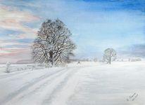 Wintermorgen, Aquarellmalerei, Winterlandschaft, Schnee