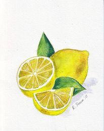 Gelb, Aquarellmalerei, Obst, Zitrone