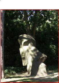 Osterinselskulptur, Palmen, Digitale kunst, Natur