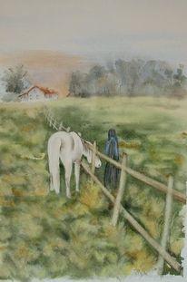 Landschaft, Pferde, Aquarellmalerei, Aquarell