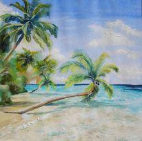 Malediven, Palmen, Meer, Mischtechnik