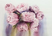 Paeonia, Pfingstrosen, Blumen, Aquarell