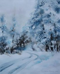 Waldweg, Winter, Landschaft, Mischtechnik