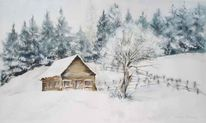 Winter, Schnee, Wald, Aquarell