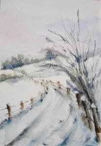 Schnee, Aquarellmalerei, Winterlandschaft, Winter