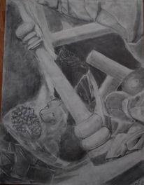 Schwarzweiß, Stillleben, Bleistiftzeichnung, Zeichnung