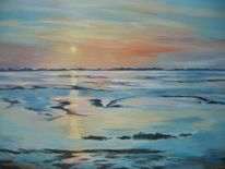 Sonnenuntergang, Strand, Watt, See