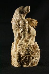 Skulptur, Schnitzkunst, Wolf,