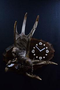 Uhr, Interieur, Schitzerei, Elch horn