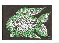 Fisch, Dispersion, Grün, Temperamalerei