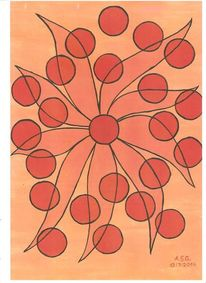 Punkten, Blumen, Rot schwarz, Formen