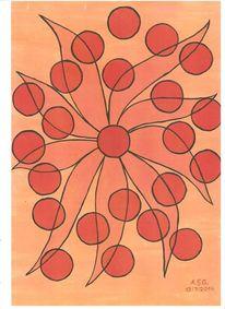 Temperamalerei, Orange, Abstrakt, Blumen