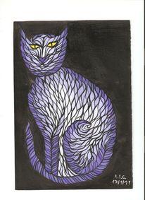 Katze, Schwarz weiß, Tiere, Hellblau